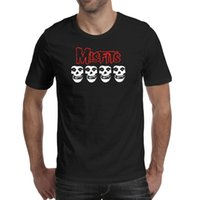 Moda Mens Misfits Logotipo Skulls Fronha Preto Pescoço Redondo T Camiseta Vintage Crazy Camisas Darth Darth Skull Misfits Logo Skulls O Fiend