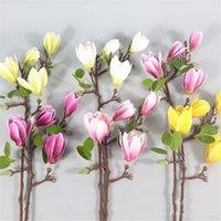 """새로운 라텍스 목련 (4 머리 / 조각) 25.59 """"길이 시뮬레이션 진짜 터치 Magnolia Denudata 웨딩 홈 장식 인공 꽃을위한"""