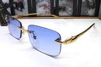 Sıcak 7 renk çerçevesiz erkek güneş gözlüğü bağbozumu tonları moda altın gümüş leopar kafa güneş gözlüğü kadın gözlük lunettes de soleil kutusuyla
