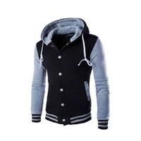 Para hombre con capucha del béisbol capas de las chaquetas de moda Negro Slim Fit remiendo de la chaqueta de la universidad Jacekt Homme hombre camiseta