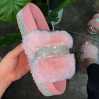 Los deslizadores del verano de la mujer de piel falsa Diapositivas Rhinestone peludo rosa Zapatos Pantufas De Peluches De Bi mullido Sliders felpa zapatillas