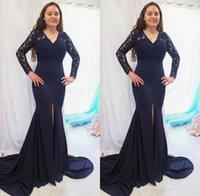 Armada Moda azul de la Madre El novio de la novia vestidos de sirena de las mangas del cordón largo Ilusión 2020 Tamaño más barato formal vestidos de noche Nuevo B96