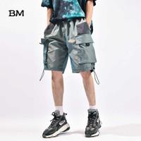 Лето Thin Мода Хип-хоп Светоотражающие штаны Мужчины Streetwear Бег Шорты Мужчины KPop Корейский Стиль одежды Casual Бриджи Мужчина