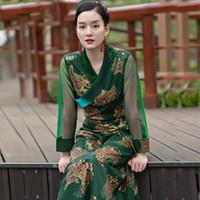 Asia Tibetan Bata Ropa étnica Mujer Túnica Larga Tribete Traje Elegent Lady Silk Blend Vestido de verano