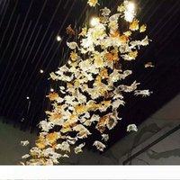Soffiato Maple Leaf lampadario nuovo arrivo a mano Lampadario in vetro Illuminazione hotel progetto Lights Italia Home Decor spedizione gratuita