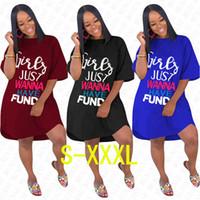 GIRLS JUST WANNA HAVE 기금 편지 특대 드레스 여성 여성 여름 느슨한 드레스 고체 전체 패션 Elegent 롱 T 셔츠 D71612