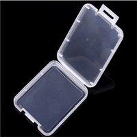 Caja de plástico de la tarjeta CF de almacenamiento caja transparente caja blanca caso del almacenaje de tarjeta de memoria estándar MS sostenedor para el caso TF tarjeta micro SD XD