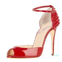 2020 new moda Rebites Salto Alto Vestido Peep Toes Sapatos Super High Heel Sandals cravado Studded Red inferior bombas de tamanho 10 centímetros 34 -42