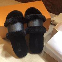 Mujeres peludas zapatillas de piel Diapositivas Sandalia Cerradura de la sandalia Impresión plana Cadena de zapatillas Ladies Zapatos casuales Flip Flops con caja 4-11