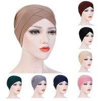 New Girl Mulheres elegante Testa Stretchy Turban Cruz Índia Hat Head Enrole Chemo cor sólida Bandana muçulmana Caps Headwear