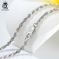ORSA JEWELS chaîne corde diamantée Colliers réel Argent 925 1.2mm 1.5mm 1.7mm cou chaîne pour femmes Bijoux pour hommes cadeau OSC29