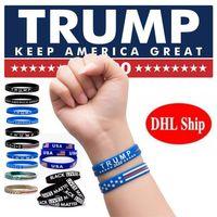 ABD Stok Mix Stiller Silikon Bilezikler Trump Amerika Büyük 2020 Cumhurbaşkanlığı Seçim Donald Trump Destekleyenler Bileklik FY6063 tutun