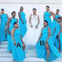 2020 신부 이브닝 가운의 아프리카 하녀 공식 행사 착용 플러스 사이즈 스플릿 쉬폰 레이스 신부 들러리 드레스