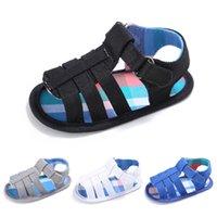 첫 번째 워커 여름 아기 소년 신발 맨발 슬리퍼 유아 유아 4 색 면화 소재 소년 신발