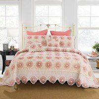 Luxury Pink Bettwäsche-Sets King Size handgemachte gestrickte Häkeln Bettdecke Set Europa amerikanische Quilts Tagesdecke Set Matratzenauflage Coverletcover