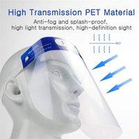 ABD In Stok PET Tam Koruma Yüz Kalkanı Çocuk Güvenliği PVC Şeffaf Yetişkin Çocuk Koruma Şapka Ağız Göz Yüz Kapak Ekran Maske