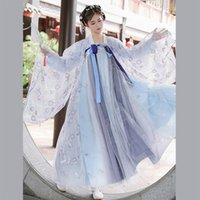 China Hanfu Mujeres / Damas / Chicas cosplay traje azul Goddes el antiguo conjunto de ropa danza popular de Fairy Dress antigua vestimenta BL4381