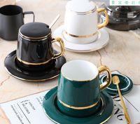 2020 heißen Verkauf Kaffeetasse im europäischen Stil kleiner Luxus einfach Dim-Sum-Schale Nordic Teetasse keramischer Wasserschal Haushalt Nachmittag Tee-Set A02