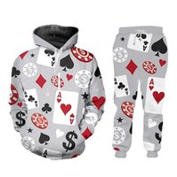 2020 New Fashion Poker 3D Print Femmes Hommes Sweats à capuche Jogger Pantalons Survêtements (Hoodie + pantalon)