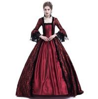 Mittelalterliches Gerichtskleid für Frauen Seide Flocking-Spitze mit Fleckenärmeling-Feiertag Kleid Prinzessin