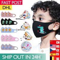 Maschere US STOCK bambini Cotton fronte del fumetto per bambini di stoffa Bocca Anti scarico polvere Sun Block colorate maschere non tessuto lavabile Maschera DHL