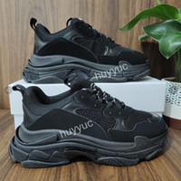 2021 Top Calidad Paris Triple S Off Papá Casual Shoes Mens Womens Triple S Negro Blanco Gimnasio Red Gris Plataforma Amantes Entrenador Zapatillas 36-45
