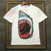 새로운 여름 unsex 캐주얼 면화 티 상판 t- 셔츠 조수 브랜드 의류 상어 큰 상어 입 인쇄 t 셔츠 패션 t 셔츠를 인쇄 망