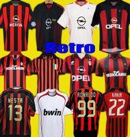Retro 1990 2000 1962 1963 2007 2002 2003 2004 AC Milan Gullit Soccer Jersey 1988 96 97 Van Basten Kaká Inzaghi Camisa de futebol