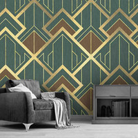 사용자 정의 벽화 3D 크리에이티브 기하학적 패턴 황금 라인 TV 배경 벽 종이 홈 인테리어 거실 침실 사진 배경 화면