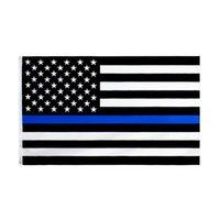 90 * 150см Bleueline США полиции полиции флаги 3x5 ноги тонкая синяя линия флаг США черный, белый и синий американский флаг с латунными втулками