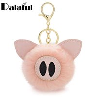 Dalaful Pompom Piggy Pig Keychains Fur Ball Keyrings животных Pom Pom кожа Trinkets для автомобилей брелки K359