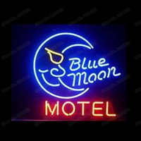 Blue Moon Motel Neon Sign Custom Handmade Real Glass Tube Ho...
