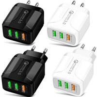 18W Quick Charge QC 3.0 3Usb Ports Eu US UK Wall Charger Fast Chargers For Iphone 7 8 X Samsung smart phone PC