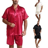 Loose Solid Short Sleeve Two Piece Shorts New Comfortable Men Home Suits Luxury Mens Summer Pajama Set