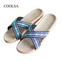 Slippers COOLSA Men's Cross-belt Natural Linen Flat Men Breathable Non-slip Beach Sandals Home El Soft Durable Flax Slides