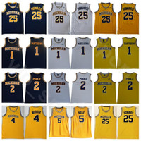 Michigan Wolverines Juwan Howard College Basketball Jersey 25 Chris Webber 4 Jalen Rose 5 Jalen Rose 2 Charles Matthews 1 Universidade Equipe