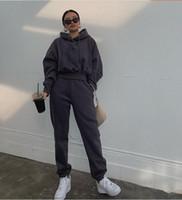 Sonbahar Kış Streetwear Kadınlar Koşucular 2 Parça Setler Kapşonlu Sweatshirt Pantolon İki Adet Set Eşofman Fleece Kıyafetler Sweatpants