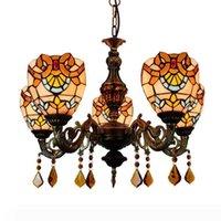 Avrupa Yaratıcı Avize Lambaları Oturma Odası Yatak Odası Barok Çok Kafa Asılı Işık Tiffany Stil Vitray Tavan Sarkıt