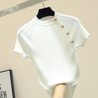 shintimes fino de punto camiseta blanca Botón de manga corta camiseta de las mujeres 2020 Camiseta del verano sólido ocasional Mujer Camiseta Femme CX200713
