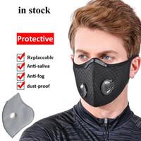 Stati Uniti Stock! Mesh polvere gas maschera viso con filtri, ciclismo maschera di protezione smog esterno per gli uomini e le donne respiratore regolabile maschera FY9060