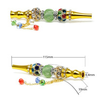 Pendenti Hookah Shisha gioielli di cristallo Inlay Pipe Suggerimenti placcato oro fumatori ugelli Holder portatili in metallo diritti tubi di fumo 14 5mtb C2