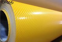 Prime Car Styling 4D Jaune en fibre de carbone Film vinyle 4D Gloss en fibre de carbone Wrap voiture automatique d'emballage avec feuille de dégonflage