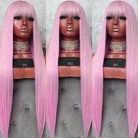 올리 머리 긴 직선 핑크 가발 앞머리 합성 레이스 프런트 가발 내열 드래그 퀸 코스프레 가발 블랙 여성 qDlh 번호