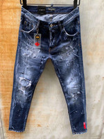DSQ PHANTOM 거북이 클래식 패션 남자 청바지 힙합 락 모토 남성 캐주얼 디자인은 청바지 고민 스키니 데님 바이커 DSQ 청바지 6145 찢어진
