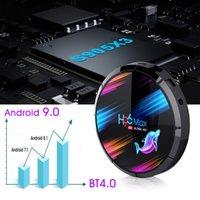 H96 최대 x3 8K 안드로이드 9.0 TV 박스 Amlogic S905X3 2.4G 5G 듀얼 브랜드 와이파이 블루투스 4GB 128GB 장치