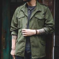 retrò giacca uomo Maden incisi M65 giacca di jeans uomini dell'esercito ricamo multi-tasca di jeans