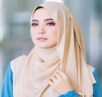 2020 فقاعة الشيفون النساء مسلم الحجاب وشاح شال لفاف الألوان عادي الصلبة عالية الجودة فقاعة الشيفون العمامة LJJJ139