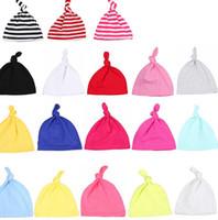 Babymütze Newborn Weiche geknotete Kappe für 0-2 Jahre Baumwolle Kleinkinder Jungen und Mädchen Mützen Schlaf-Streifen-Caps Kopfbedeckung Kopfbedeckung KKA7974