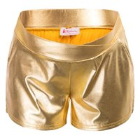 Maacie Женщины Материнство Shiny Metallic-Like шорты эластичный пояс Короткие штаны с открытыми боковыми въездных Карманы