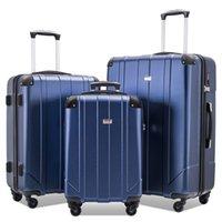 """3 st Bagageuppsättning, Portable ABS-vagnsfall 20 """"/ 24"""" / 28 """"Skyblå, utdragbart 8-hjuls roterande bagage, med teleskophandtag, kodat lås"""